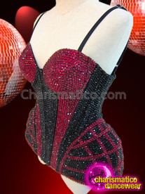 CHARISMATICO Diva's Fuchsia and Black Rhinestone Crystal Covered Cage Illusion Corset
