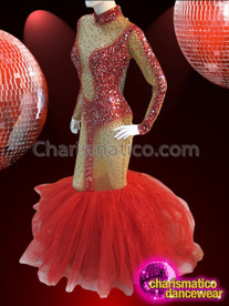CHARISMATICO Sexy Nude-Illusion Ruby Embellished Mermaid Gown With Red Organza Skirt