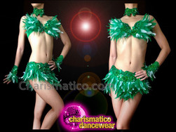 CHARISMATICO Rich Green Feather Bra With Matching Skirt Diva Showgirl's Costume