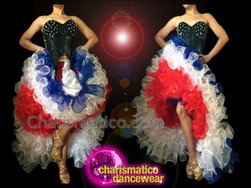 CHARISMATICO Independence Day Red, White, and Blue Diva Cancan Dance Costume