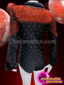 CHARISMATICO Crystal Studded Ruby Accented Rhinestone Black 70'S Style Diva Bodysuit