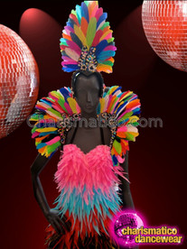 CHARISMATICO Silver Trimmed Neon Rainbow Headdress and Collar Gay Pride Set
