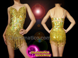 CHARISMATICO Sexy Iridescent Metallic Gold Sequin Diva Showgirl's Beaded Fringe Leotard