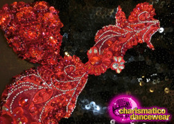 CHARISMATICO Black Sequin Beaded Fringe Leotard With Beaded Red Appliqué Accents