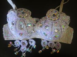 White Belly Dance Show girl Beaded bra and belt