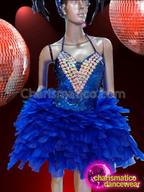 CHARISMATICO Intense Royal Blue Sequin and Feather Dress With Crystal Accents