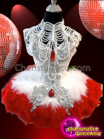 CHARISMATICO Red Accented White Feather Dress With Coordinated Gothic Diva Necklace