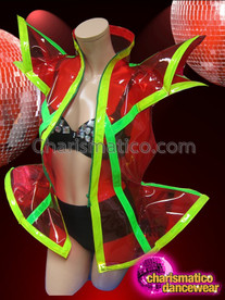 CHARISMATICO Lime Trimmed Deep Red Sheer Vinyl Futuristic Transparent Diva Jacket