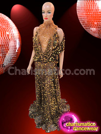 CHARISMATICO Gold Sequin Accented Black Diva's Gown With Matching Gothic Necklace