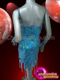 CHARISMATICO Sexy Blue Striped Iridescence Divas Tasseled Hem Latin Dance Dress