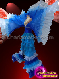 CHARISMATICO Showgirl's Vivid Trio-Color Blue Pleated Cabaret Wing Ruffled Skirt Gown