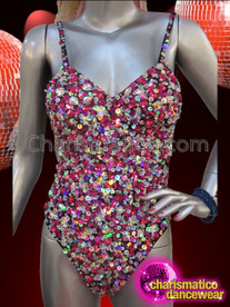 CHARISMATICO Iridescent Pink and Diamond Crystallized Halter Style Showgirl's Dancer Leotard