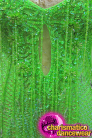 CHARISMATICO Lime Green Latin Salsa Beaded Fringe Dress With Deep V-Hem
