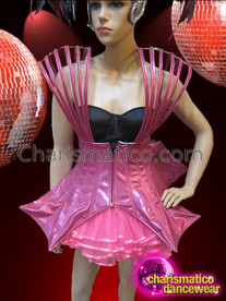CHARISMATICO Showgirl's Futuristic Gaga Inspired Shiny Metallic Fuchsia Diva Corset Dress