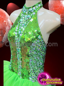 CHARISMATICO High-Necked Green Sequin Latin Dance Dress With Organza Ruffled Skirt