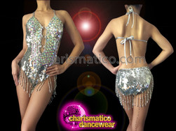 CHARISMATICO Classic Iridescent Metallic Silver O-Ring Dancer Leotard With Beaded Fringe