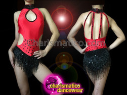 CHARISMATICO Red Keyhole Dance Dress With Black Beaded Fringe and Sequins
