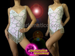 CHARISMATICO Iridescent White Sequin Leotard With Metallic Silver Beaded Scale Pattern