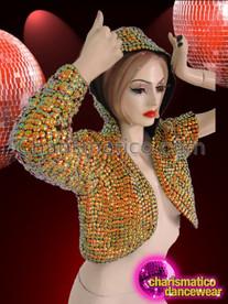 CHARISMATICO Diva's Asymmetrical Metallic Gold Studded Hooded Cropped Urban Cabaret Jacket