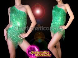 CHARISMATICO Retro Asymmetrical One Shouldered Beaded Fringe Green Sequin Dance Leotard