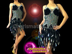 CHARISMATICO Black Sequin Halter Style Latin Dance Dress With Silver Embellishment