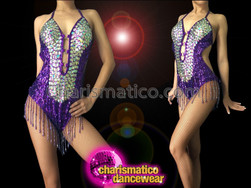 CHARISMATICO Iridescent Crystal Embellished Purple Beaded Fringe Latin Halter-Style Dance Leotard