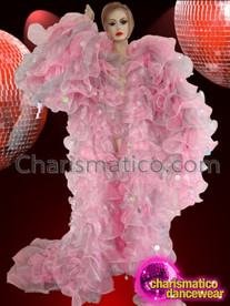 CHARISMATICO Pink and Gray Organza Ruffle Drag Queen Jumbo Sequin Embellished Coat