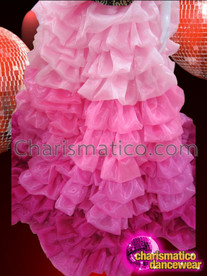 CHARISMATICO Full Length Blush Pink To Fuchsia Organza Pillow Ruffle Skirt