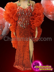 CHARISMATICO Diva's Red Sequin Pageant Gown With Matching Organza Ruffle Boa