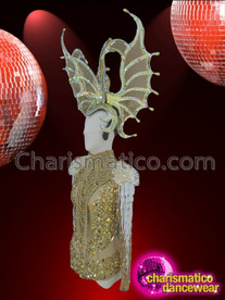 CHARISMATICO Nude Based Gold Sequin Leotard, Necklace and Bat Styled Headdress