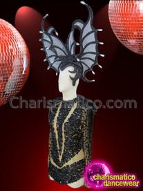 CHARISMATICO Nude Based Shimmering Black Sequin Leotard and Bat Styled Headdress