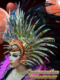 GOLD Drag Queen Tranvestite CABARET FEATHER HEADDRESS HEAD GEAR
