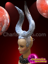 CHARISMATICO Simply Beautiful Diva's Sweeping Silver Feathered Maleficent Inspired Horn Headpiece