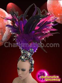 CHARISMATICO Diva's Black Iridescent Crystal Bejeweled Base Purple Feather Cabaret Headdress