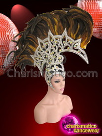 CHARISMATICO Silver Glitter Based Openwork Yellow Feathered Drag Queen Mohawk Headdress