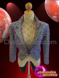 CHARISMATICO Diva's Sleek iridescent purple beaded tail suit jacket for Cabaret