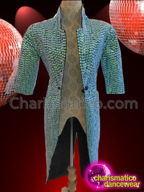 CHARISMATICO Diva's Shimmering Blue Beaded Victorian Morning Suit Jacket for Cabaret