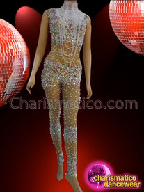 CHARISMATICO Sequin And Crystal Decorated Sheer Nude Bodystocking With Diva Necklace