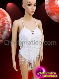 CHARISMATICO Classic Styled White Beaded Fringe Showgirl's Costume Base Dance Leotard