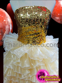 CHARISMATICO Golden Sequin Corset Style Gown With Pale Organza Ruffled Skirt