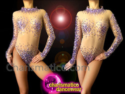 CHARISMATICO Nude Illusion Lavender And Dusty Mauve Sequin Accented Dance Leotard