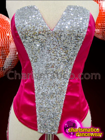 CHARISMATICO Hot Fuchsia Satin Tail Cabaret Corset With Silver Sequin Trim