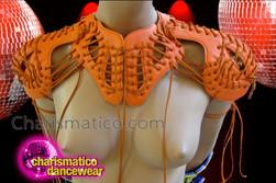 CHARISMATICO Laced Up Orange Leather Road Warrior Styled Cabaret Shoulder Piece