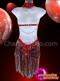 CHARISMATICO Multi Tone Red Sequin Dress With Long Sequin Fringe Skirt
