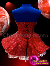 CHARISMATICO Strapless Red Sequin Dolly Dress With Mirror Tiled Crystal Accents