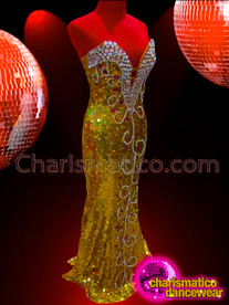 CHARISMATICO Ornately Crystal Embellished Sleek Metallic Gold Sequin Strapless Pageant Gown