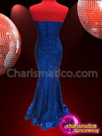 CHARISMATICO Sleek Rich Royal Blue Sequin Strapless Old Glamor Pageant Gown