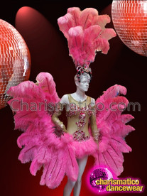 CHARISMATICO Bright Pink Ostrich Feather and Sheer Leotard Showgirl's Complete Costume Set