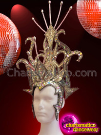 CHARISMATICO Serpentine Metallic Silver Headdress With Mirror Tiles And Iridescent Crystals