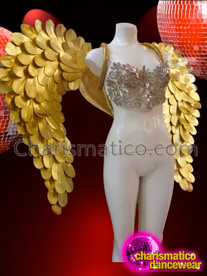CHARISMATICO Simply Beautiful Diva's Metallic Golden Scale Cabaret Angel Wing Backpack